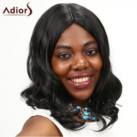Fashion Adiors Medium Shaggy Centre Parting Wavy Synthetic Wig BLACK