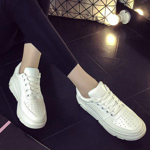 Trendy Breathable Tie Up PU Leather Athletic Shoes WHITE 39