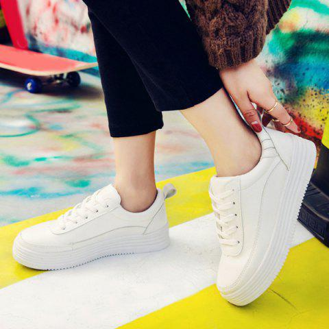 Shop PU Leather Breathable Tie Up Athletic Shoes - 39 WHITE Mobile