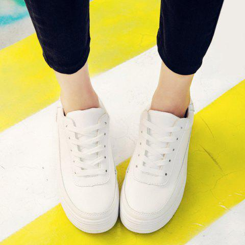 Store PU Leather Breathable Tie Up Athletic Shoes - 39 WHITE Mobile