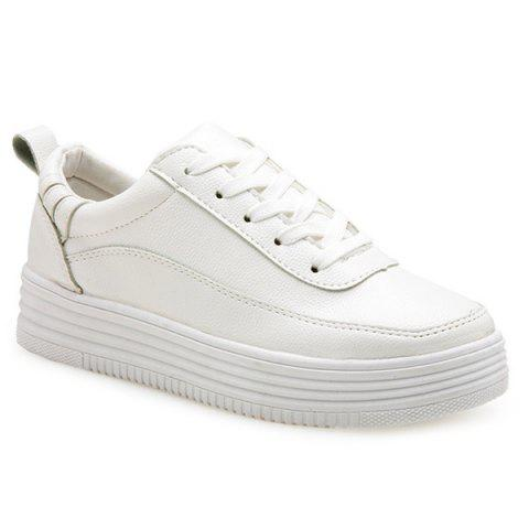 Store PU Leather Breathable Tie Up Athletic Shoes - 37 WHITE Mobile