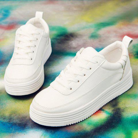 Chic PU Leather Breathable Tie Up Athletic Shoes - 37 WHITE Mobile