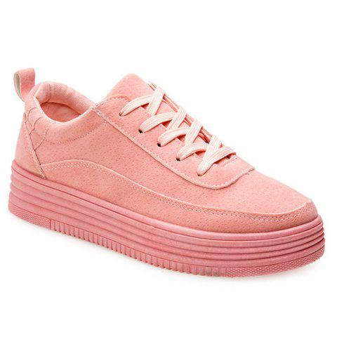 Fancy PU Leather Breathable Tie Up Athletic Shoes PINK 37