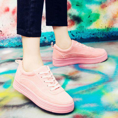 Buy PU Leather Breathable Tie Up Athletic Shoes - 38 PINK Mobile