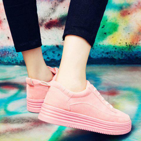 Sale PU Leather Breathable Tie Up Athletic Shoes - 38 PINK Mobile