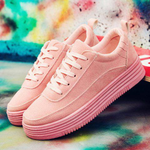 Online PU Leather Breathable Tie Up Athletic Shoes - 38 PINK Mobile
