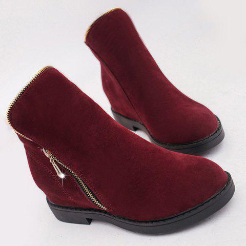 Flat Heel Zipper Round Toe Ankle Boots - Wine Red - 37
