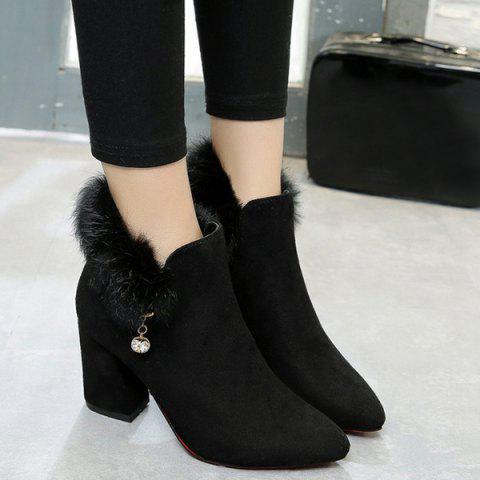 Buy Pointed Toe Rhinestone Faux Fur Ankle Boots - Black 38