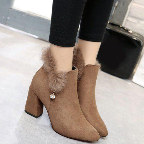 Pointed Toe Rhinestone Faux Fur Ankle Boots - Camel - 37