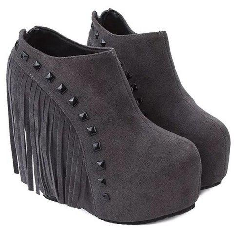 Affordable Hidden Wedge Rivets Ankle Boots