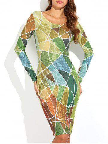 Hot Long Sleeve Geometric Print Slimming Dress