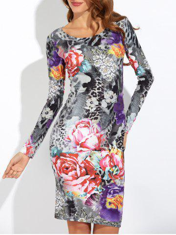 Cheap Scoop Neck Floral Print Slimming Dress GRAY 2XL