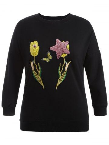 Chic Plus Size Sequin Embellished Embroidered Sweatshirt