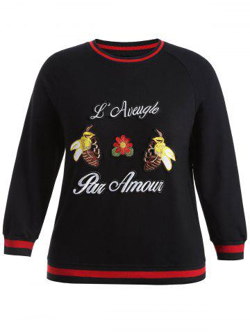 Unique Plus Size Bee Embroidered Sweatshirt