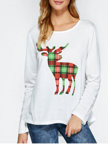 Latest Plaid High Low Deer Pattern Christmas Tee WHITE XL