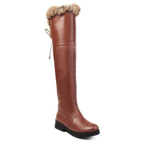 Cheap PU Leather Fuzzy Thigh Boots