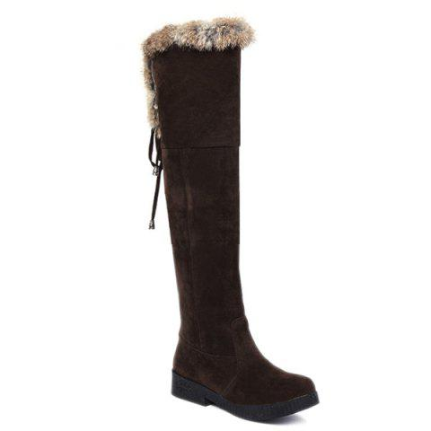 Hot Suede Fuzzy Thigh Boots