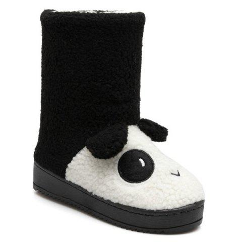 Flocking Panda Patten Snow Boots - Black - Size(39-40)