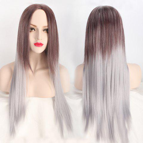 Unique Long Middle Part Straight Ombre Color Synthetic Wig