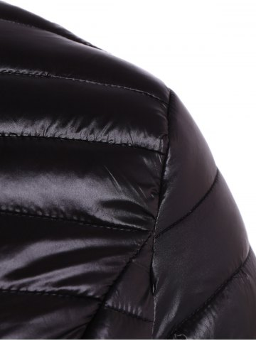 Trendy Plus Size Double Pocket Quilted Jacket - 4XL BLACK Mobile
