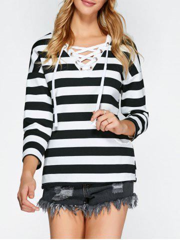 Hot Two Tone Striped Lace Up T-Shirt