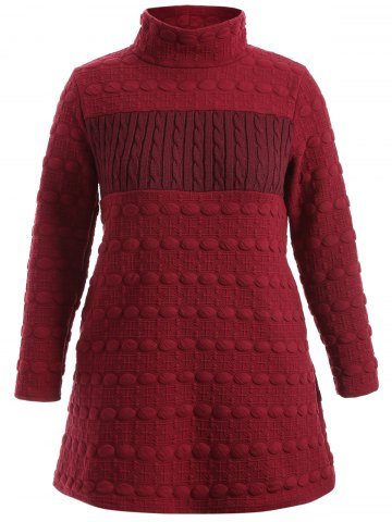 Ribbed Knit Pocket Sweater Dress - Wine Red - M