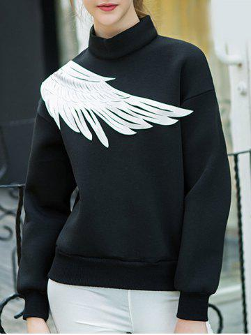 Latest Two Tone Pullover Wing Printed Sweatshirt