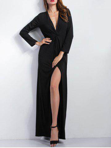 Outfit Long Sleeve Plunge Slit Maxi Cocktail Dress BLACK XL