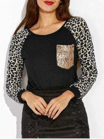 Buy Raglan Sleeve Leopard Print Pocket Design Sweatshirt