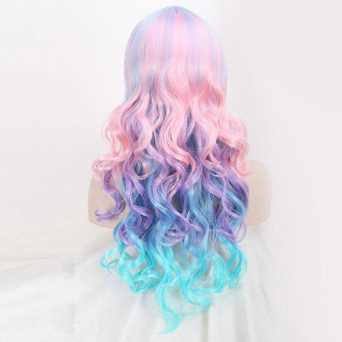 Shops Colored Long Neat Bang Wavy Cosplay Lolita Synthetic Wig - COLORFUL  Mobile
