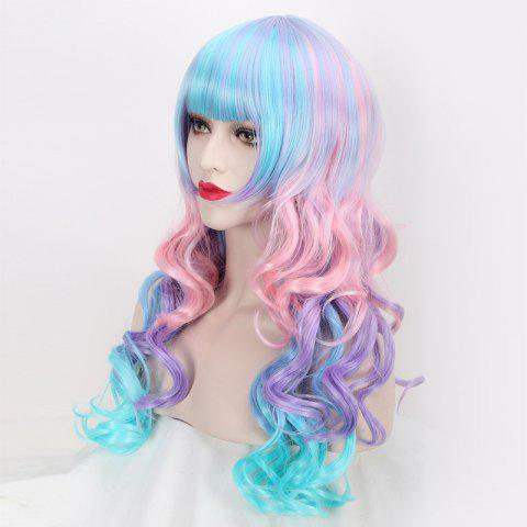 Unique Colored Long Neat Bang Wavy Cosplay Lolita Synthetic Wig - COLORFUL  Mobile