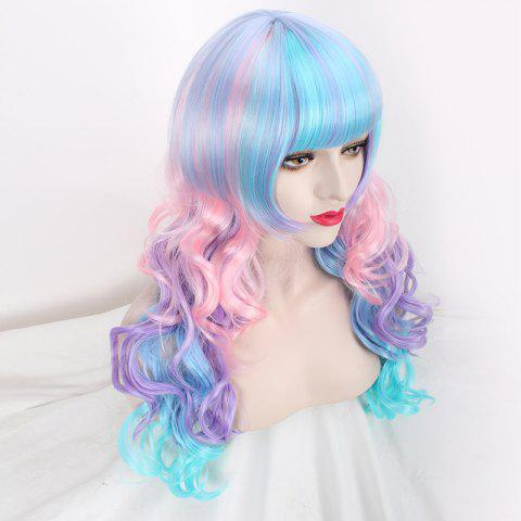 Fashion Colored Long Neat Bang Wavy Cosplay Lolita Synthetic Wig - COLORFUL  Mobile