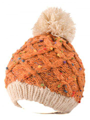 Outfits Outdoor Latticed Knit Ball Top Beanie ORANGE RED