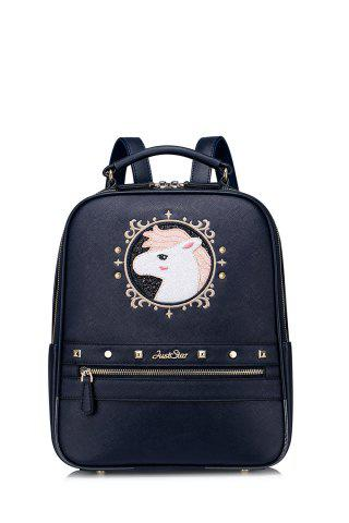 Shop Embroidered Cartoon Sequins Backpack DEEP BLUE