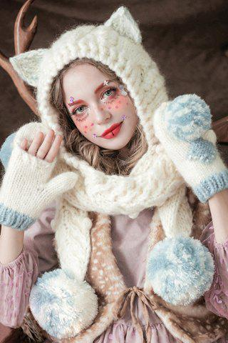 Sale Ball Spliced Cat Crochet Scarf Hat