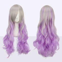 Ombre Color Long Side Bang Wavy Fairy Cosplay Synthetic Wig - COLORMIX