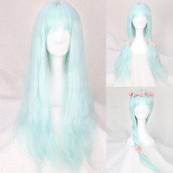Long Full Bang Slightly Curled Fairy Cosplay Synthetic Wig - WINDSOR BLUE