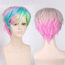 Colorful Short Side Bang Fluffy Straight My Little Pony Cosplay Synthetic Wig - COLORFUL