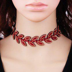 Leaf Rhinestone Velvet Choker Necklace -