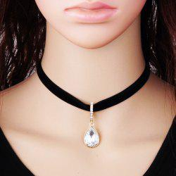 Punk Faux Crystal Velvet Choker Necklace -