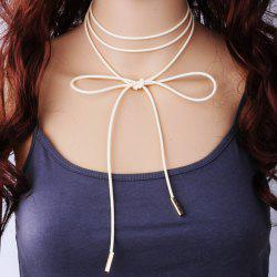 Layered PU Rope Tie Choker Necklace -