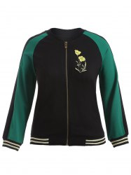Plus Size Embroidered Baseball Jacket - BLACK