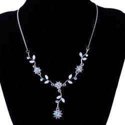 Floral Leaf Rhinestone Pendant Necklace