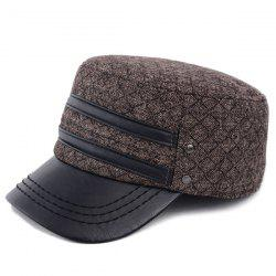 Outdoor Winter Double PU Leather Band Rhombus Ear Warmer Hat -