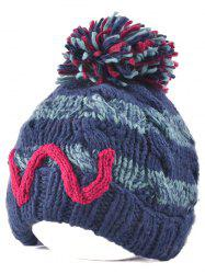 Outdoor Stripy Letter W Ball Top Beanie -