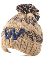 Outdoor Stripy Letter W Ball Top Beanie