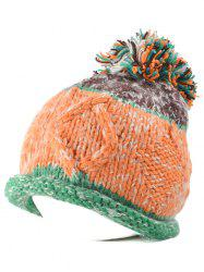 Multi Color Knit Ball Rolled Edge Beanie -