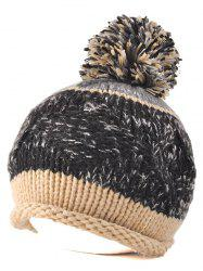 Multi Color Knit Ball Rolled Edge Beanie