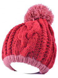 Twist Knit Double Color Ball Beanie -