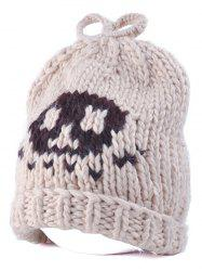 Flanging Skull Knit Bow Top Beanie -